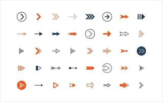 set of arrow icons, objects, direction vector