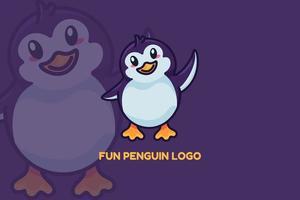 pingüino divertido animal aleteando con ala logo vector