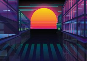 retro building and sunset in town background vector