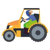 Farmer working with tractor machine vector