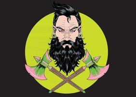 viking warrior head with axe vector