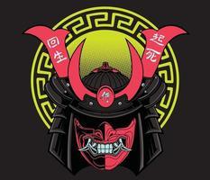 Oni mask samurai vector