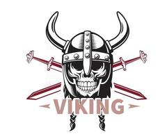 Viking skull with two sword vector