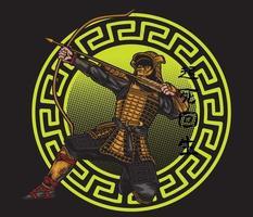samurai with arrow vector