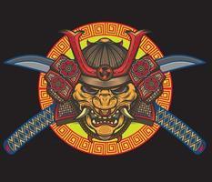 oni mask with katana vector