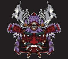 samurai helmet with mask vector