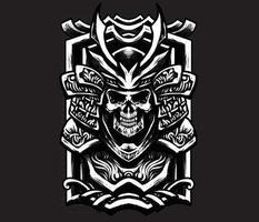 Skull samurai with shield vector
