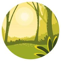 landscape forest and sun vector