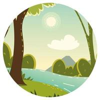 landscape with water and trees vector