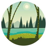 trees, river and grass vector