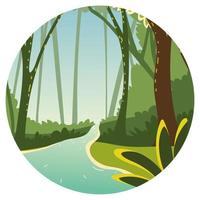 forest trees and water vector