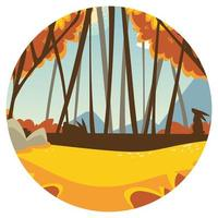 forest trees and grass vector
