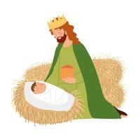 nativity, manger with baby jesus, melchior wise king with gift cartoon vector