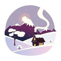 winter landscape with house, mountains and tree with snow vector