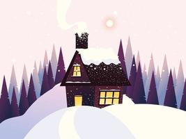 winter landscape, cottage with chimney, snow and pine trees vector