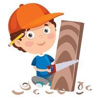 Little Cartoon Carpenter Working With Woods vector