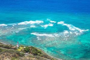 Lighthouse and sea scenery at Oahu, Hawaii, US photo