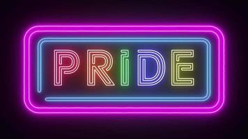 neon sign with the word PRIDE in rainbow color flickering animation video footage