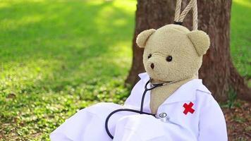 um ursinho de pelúcia está sentado em um balanço no jardim. video