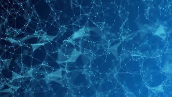 abstrakt futuristiska - molekyler teknik med månghörniga former på mörkblå bakgrund. video
