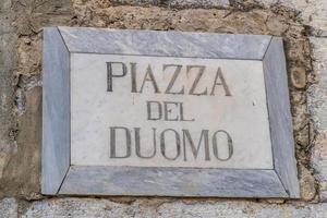 Sicily, Italy, 2019 - Piazza del Duomo square sign photo