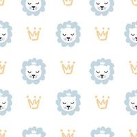 Hand drawn cute lion and crown vector illustration seamless pattern baby boy. Simple repeated texture with scandinavian elements. Template for baby textile and wrapping paper