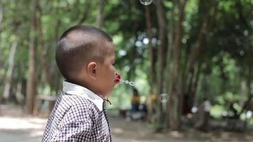 Chico asiático soplando burbujas en el patio delantero video