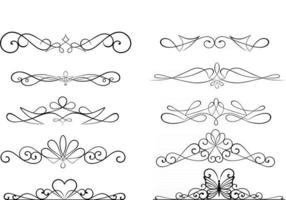 set of calligraphic dividers vector