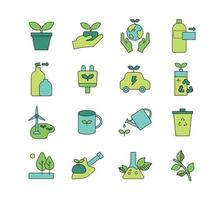Save the earth symbol icon. Simple outline style design set. vector