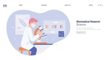 A researcher is doing research while looking through a microscope in a laboratory. Web page concept template design. vector