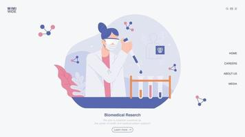 A researcher is conducting research by putting reagents into test tubes in a laboratory. Web page concept template design. vector