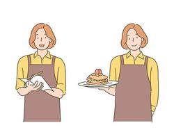 A waitress wearing an apron is serving while taking notes in a notebook or holding food in one hand. hand drawn style vector design illustrations.