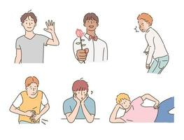 Romantic and funny facial expressions of men. hand drawn style vector design illustrations.