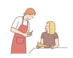 A woman is ordering food in a restaurant and a waitress is taking notes. hand drawn style vector design illustrations.