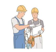 Two construction site workers are looking at the blueprints and discussing their opinions. hand drawn style vector design illustrations.