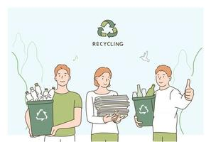 Environmental activists stand with recyclable waste. hand drawn style vector design illustrations.