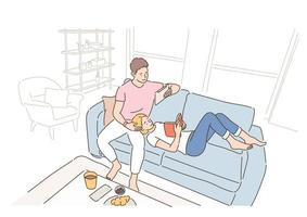 A couple is reading a book while sitting or lying on the sofa in the living room. hand drawn style vector design illustrations.