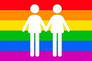 Two man icon isolated on Rainbow Gay flag background. LGBTQ pride icon vector illustration