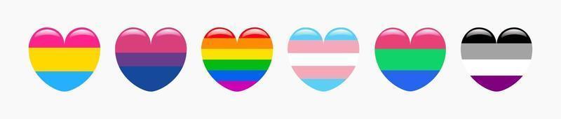 conjunto de iconos de banderas en forma de corazón de pansexual, bisexual, gay, transgénero, polisexual y asexual. ilustración vectorial vector