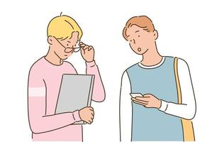 Two male students are having a conversation with a laptop and a mobile phone in their hands. hand drawn style vector design illustrations.