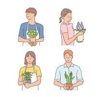 A person holds a small plant in their hands. hand drawn style vector design illustrations.