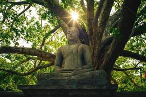 Estatua de Buda en la estupa de Abhayagiri Dagoba en Anuradhapura, Sri Lanka foto