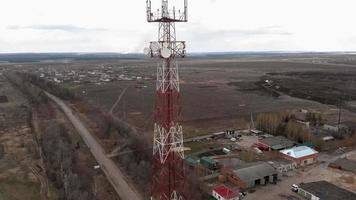 Flying around the communications tower Aerial footage from a copter video