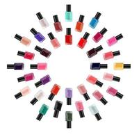 Nail polish collection on white background. Cosmetic product template for advertisement, magazine, product sample. Vector Illustration