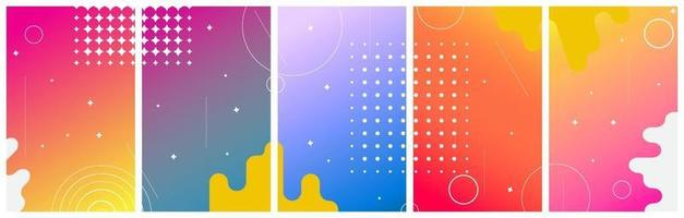 Set of Colorful abstract background with circles for stories, social networks. Vector Illustration