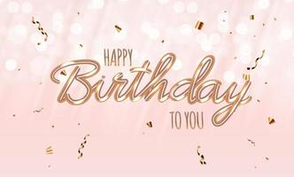 Happy Birthday Blue glossy background with confetti. Vector Illustration