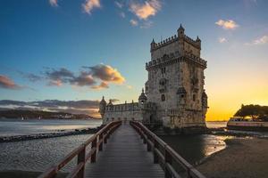 Belem tower in Belem district of Lisbon at dusk photo