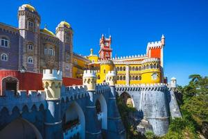 Pena Palace on the top of hill in Sintra, Portugal photo