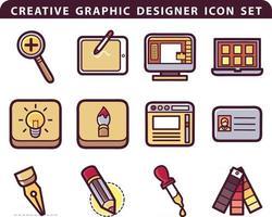 creative graphic design and illustrator icon set vector