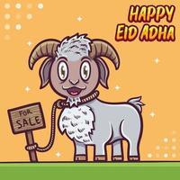 sheep greeting happy eid al adha mubarak illustration vector